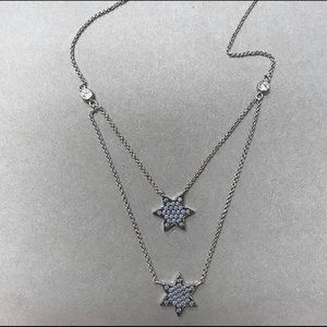 .925 SterlingSilver Blue Opal Layered Star Chains